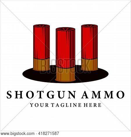 Ammo Of Shotgun Logo Vintage Vector Illustration Template Design. Bullet For Shotgun Logo Concept Ic
