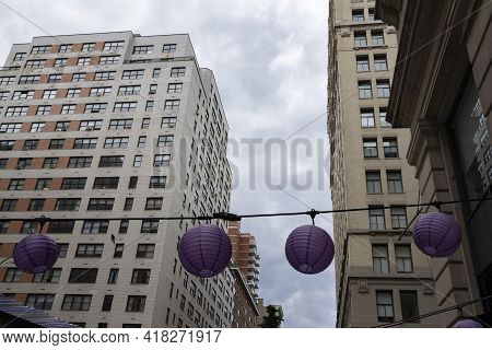 Purple Paper Lanterns Hanging In The City Of New York Between Tall Apartment Buildings. Looking Up.