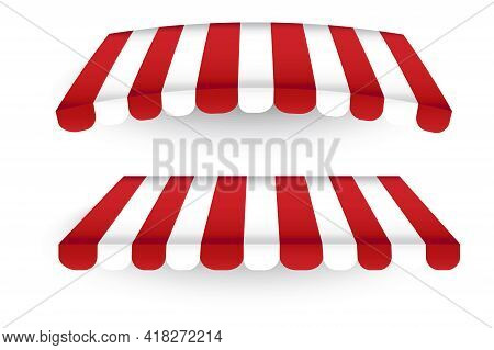Red White Pavilion Roof In Realistic Style. Two Roofs Of A Commercial Tent. Trade Symbol. Vector Ill