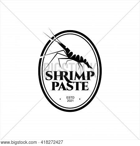 Shrimp Paste Logo Traditional Asian Food. Seasoning Ingredient Seafood Flavor For Culinary Label Ret