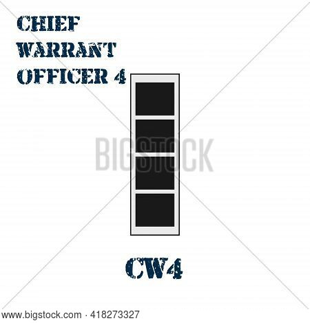 Realistic Vector Icon Of The Chevron Of The Chief Warrant Officer 4 Of The Us Army. Description And