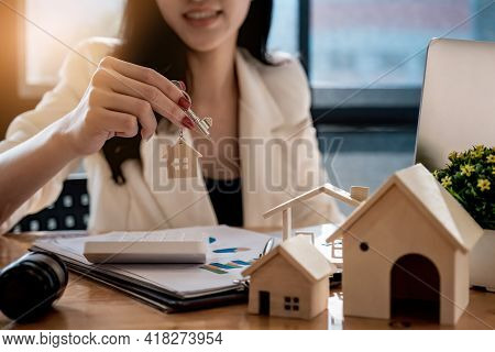 Real Estate Agent Offer Hand For Customer Sign Agreement Contract Signature For Buy Or Sell House. R