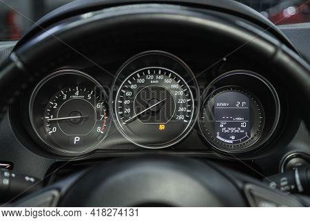 Novosibirsk, Russia - April 25 2021: Mazda 6, Car Dashboard With White  Backlight: Odometer, Speedom