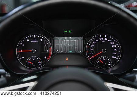 Novosibirsk, Russia - April 25 2021: Kia Optima, Car Dashboard With White  Backlight: Odometer, Spee