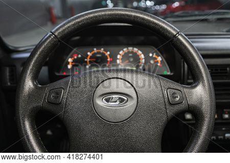 Novosibirsk, Russia - April 25 2021: Lada  Niva 4x4 , Auto Interior: Steering Wheel With  Logo    An