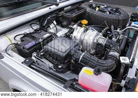 Novosibirsk, Russia - April 25 2021: Lada  Niva 4x4 , Close Up Detail Of  Car Engine.  Internal Comb
