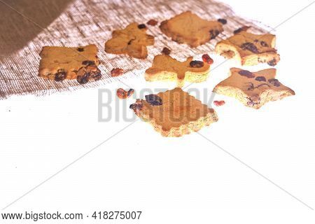 Cookies In Different Shapes, Gluten-free, Lactose-free, Sugar-free Healthy Dessert With Dark Chocola