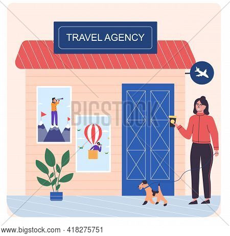 Young Woman Walking With Dog Near Travel Agency. Banner With Man Tourist Holding Telescope In Snowy