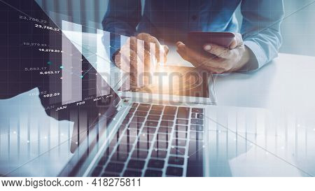 Business Investor Trading In Stock Market With Business Intelligence (bi) On Display Screen, Financi