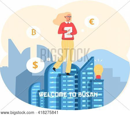 Traveler Young Girl Walks Near Tall Buildings In Busan City. Female Tourist Travels Abroad. Woman On