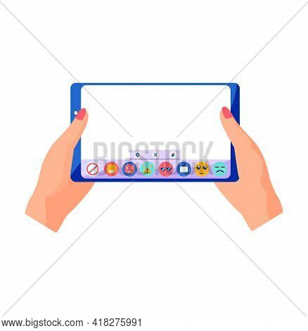 Hands Holding Smartphone And Touching Screen. Phone With Blank Screen And App With Buttons. Smartpho