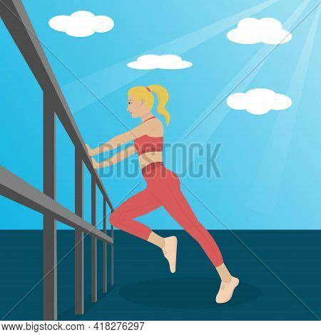 Young Girl In Fitness Sportswear Outdoor Playing Sports. Fitness Girl Vector. Sports Stretching Outd