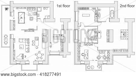 Planning Of Two Storey Apartment With Arrangement Furniture. Architectural Drawing Of The House (top
