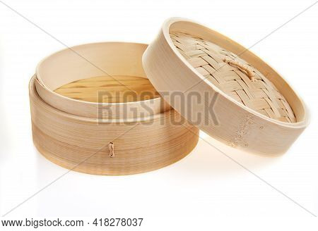 Dimsum Container Chinese Japanese Food Bamboo Steamer With Clipping Path Isolated On White Backgroun