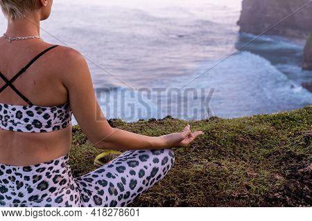 Close Up Gyan Mudra. Half Of Lotus Pose, Padmasana. Focus On Fingers. Retreat. Woman Sitting On Gras