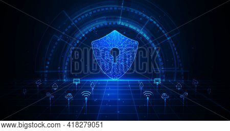 Home Security Concept.security With Shield Symbol And Icon Different Things In The House On Dark Blu