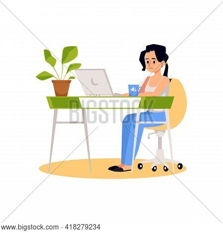 Young Woman Tired And Stressed On Work, Flat Vector Illustration Isolated.