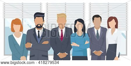 Business Team Ready To Work. Teamwork. Coworkers Characters Communication. Team Building And Busines