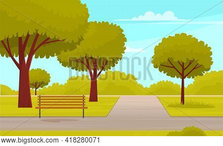 Park For Recreation, Walks And Entertainment. City Garden With Bench For Rest, Green Trees And Grass