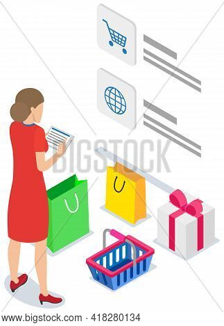 Online Shopping Design. Buying Things On Special Website. Landing Page Of Site With Goods Selling Wo