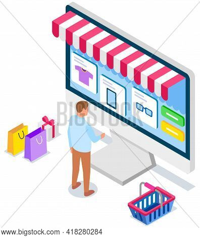 Online Shopping Design Concept. Buying Things On Site. Computer Screen With Open Site With Goods, Cl