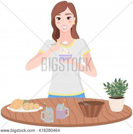 Organic Food, Diet, Fresh Products. Slender Girl Eating Natural Yogurt. Woman Preparing, Cooking Hea