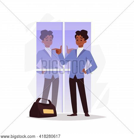 Happy Man Confident About His Appearance, Flat Vector Illustration Isolated.