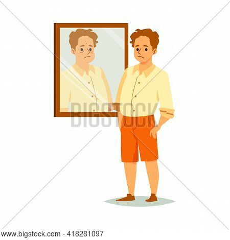 Man Experiences A Problem Of Self Acceptance, Flat Vector Illustration Isolated.
