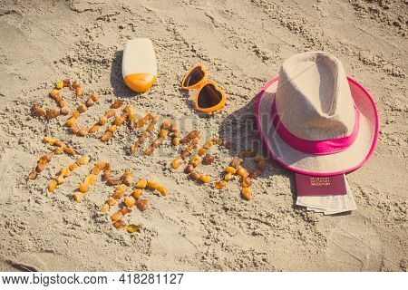 Vintage Photo, Inscription Summer Time Made Of Amber Stones, Accessories For Sunbathing And Passport