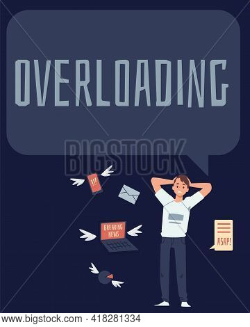 Information Overloading Poster With Man In Panic, Flat Vector Illustration.