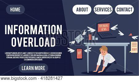 Information Overload Website Banner With Businessman, Flat Vector Illustration.