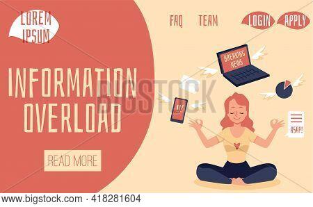 Web Banner Mockup On Information Overload Problem, Flat Vector Illustration.