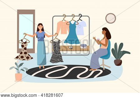Girls Choose A New Wardrobe. They're Shopping And Relaxing. Daily Routine Of Choosing An Outfit In A