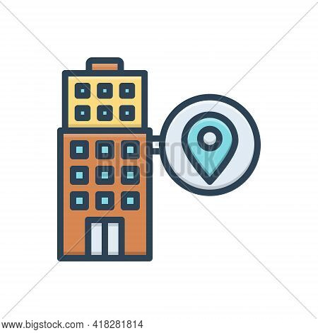 Color Illustration For Local  Maps Localization Gps Building Place