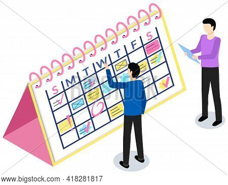 Business Planning And Scheduling Concept. Employees Analysing Schedule For Week. Timetable With To-d