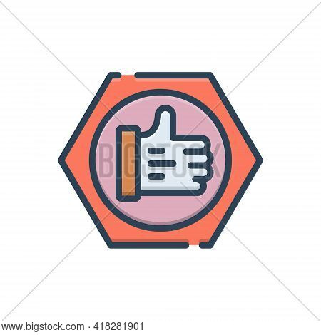 Color Illustration Icon For Trust Believe Confidence Verified Ok Thumb