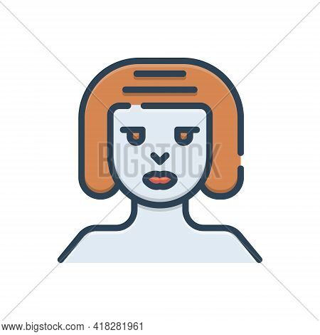 Color Illustration Icon For Women Female Woman Lady Dame Distaff