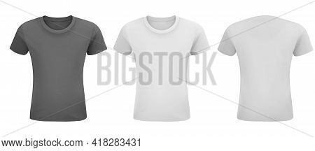 Men White And Black T-shirt Mockup. Front And Back Isolated On A White Background. Black, Gray And W