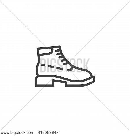 Boots Shoe Line Icon. Linear Style Sign For Mobile Concept And Web Design. Trendy Boots Outline Vect