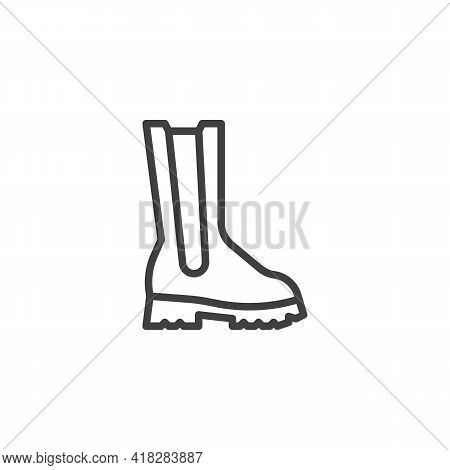 Calf Boots Line Icon. Linear Style Sign For Mobile Concept And Web Design. Boot Shoe Outline Vector