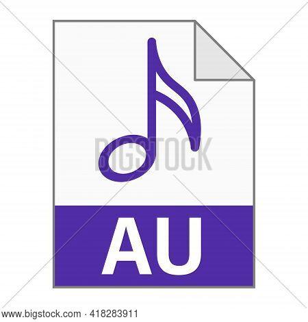 Modern Flat Design Of Au File Icon For Web