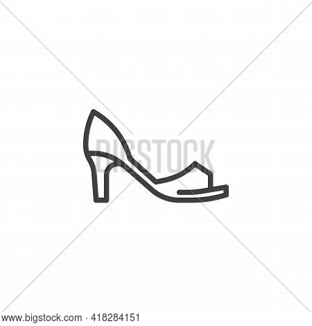 Peep Toe Shoes Line Icon. Linear Style Sign For Mobile Concept And Web Design. Womens Peep Toe Heels