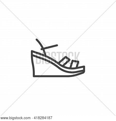Wedges Sandals Line Icon. Linear Style Sign For Mobile Concept And Web Design. Wedges Shoes Outline