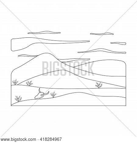 Landscape Desert Vector Outline Icon. Vector Illustration Desert Sand On White Background. Isolated
