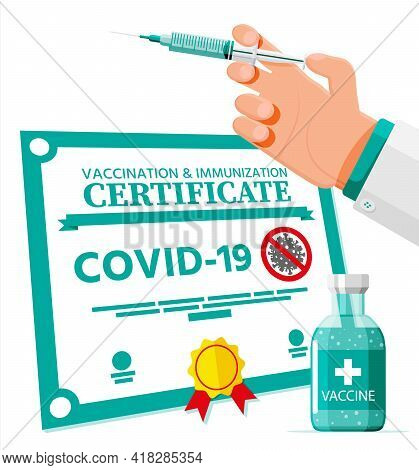 Covid-19 Vaccination Passport. Vaccinated Health Document As Proof Person Is Immune To Disease. Coro