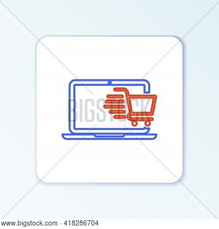 Line Shopping Cart On Screen Laptop Icon Isolated On White Background. Concept E-commerce, E-busines