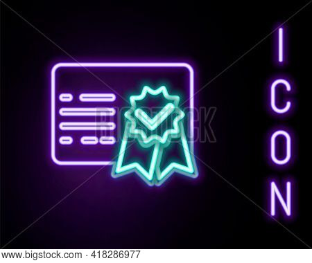 Glowing Neon Line Certificate Template Icon Isolated On Black Background. Achievement, Award, Degree