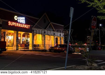 NORWALK, CT, USA - APRIL 24, 2021: C Town supermarket  with evening lights
