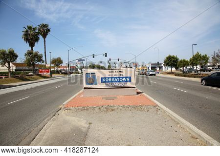 April 18, 2001 Korea Town, California USA - Korea Town entrance sign. Entrance Sign to Korea Town in California. Editorial Use.