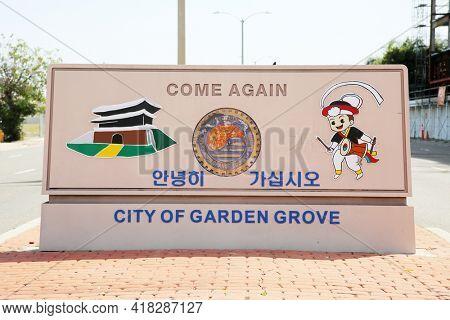April 18, 2001 Garden Grove, California USA - City of Garden Grove entrance sign. Entrance Sign in Garden Grove California. Editorial Use Only.